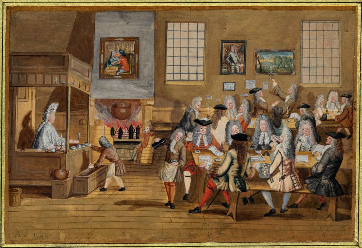 ภาพวาดบรรยากาศร้านกาแฟในนครลอนดอน ในคริสต์ทศวรรษ 1690