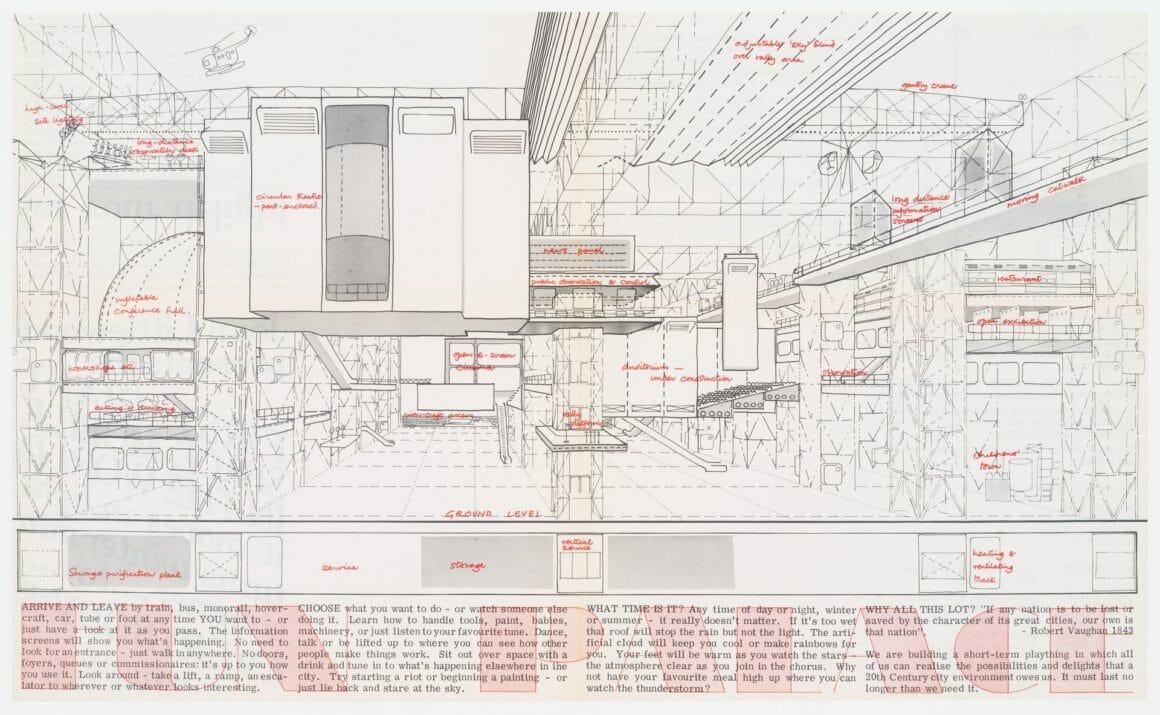 แบบอาคาร Fun Palace ในโบรชัวร์ประชาสัมพันธ์โครงการที่ผลิตในปี 1964