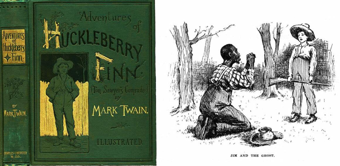 หนังสือ 'การผจญภัยของฮัคเกิลเบอร์รี ฟินน์' (The Adventures of Huckleberry Finn) และ ตัวอย่างภาพประกอบที่มีปัญหา วาดโดย E.W.Kemble ในหนังสือฉบับตีพิมพ์ปี 1884